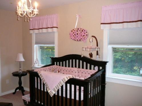 beige and pink baby girls nursery