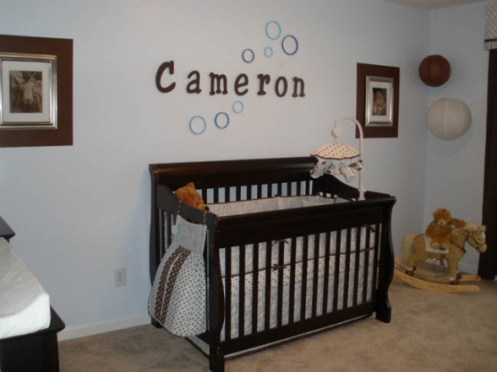 light blue and brown boys nursery