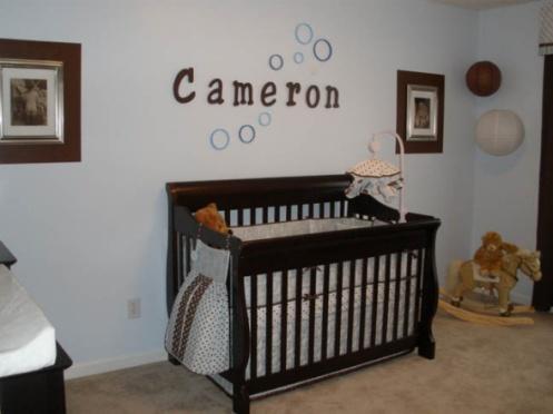 light blue and brown boys nursery