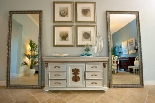light blue console and mirrors