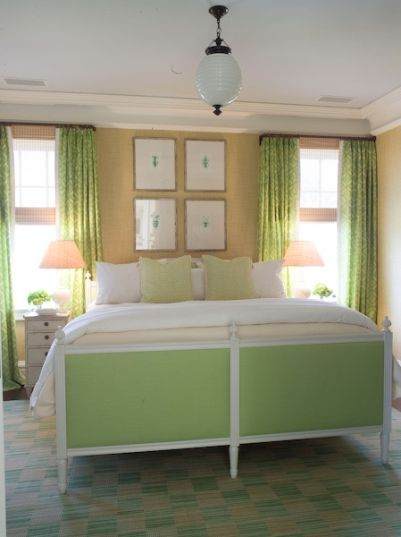 green white beige bedroom