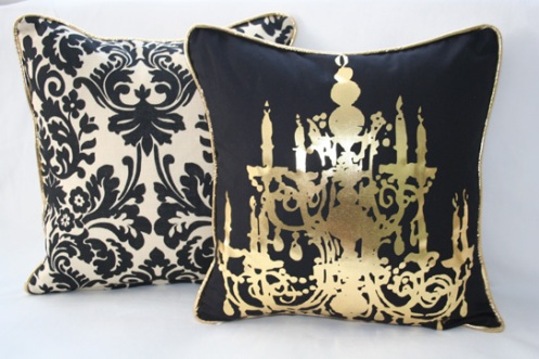 black and gold modern retro cushions with chandelier motif