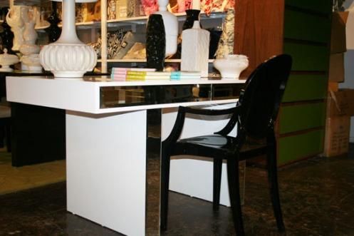 modern white mirrored desk