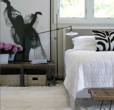 black white modern bedroom