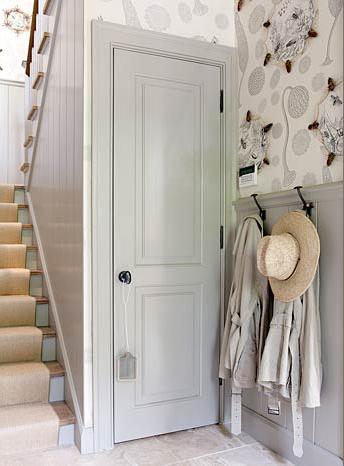 grey and floral hallway stairway
