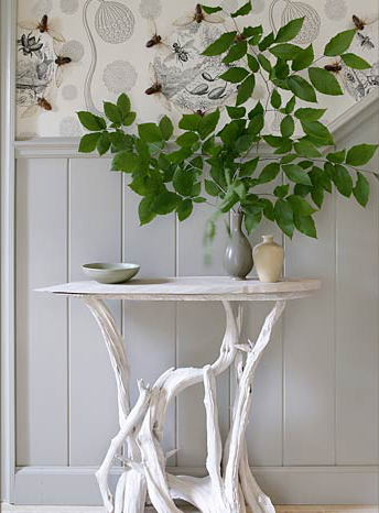 grey and white hallway white driftwood table
