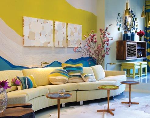 modern retro living room white blue green yellow