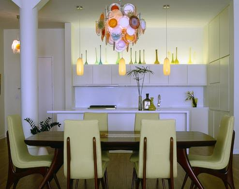 white and green retro modern dining room
