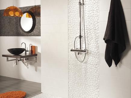 white black orange sporty tile bathroom