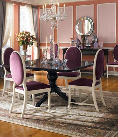 pink and purple posh living room chandelier mirror