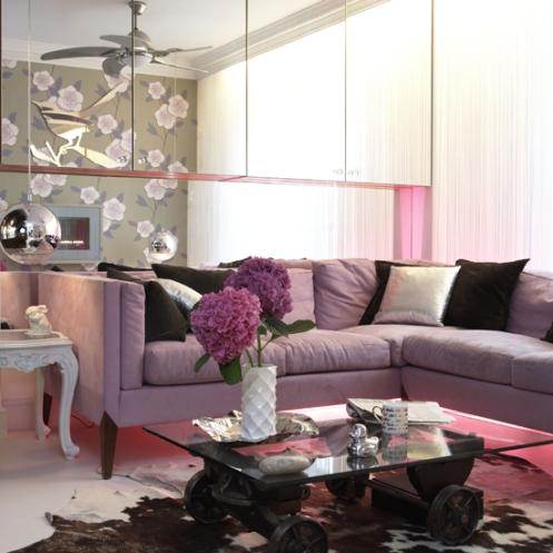 purple living room, floral wallpaper