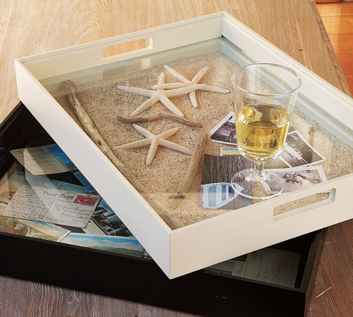 sand and sea stars serving tray beach style