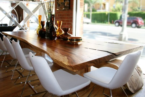 raw wood dining table retro style
