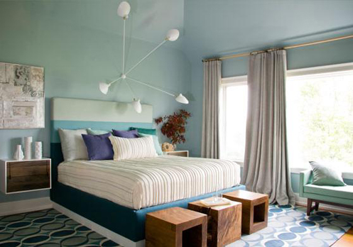 light blue modern retro bedroom