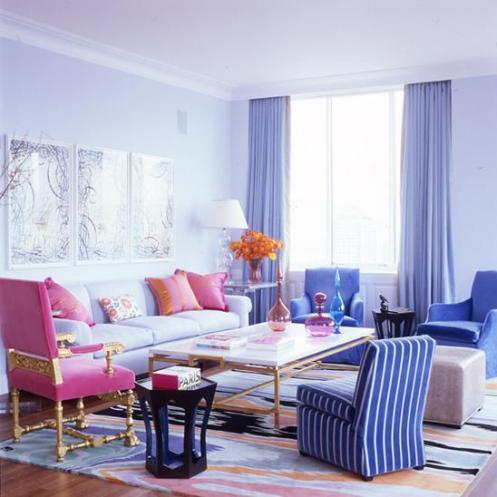 colorful living room, blue pink orange