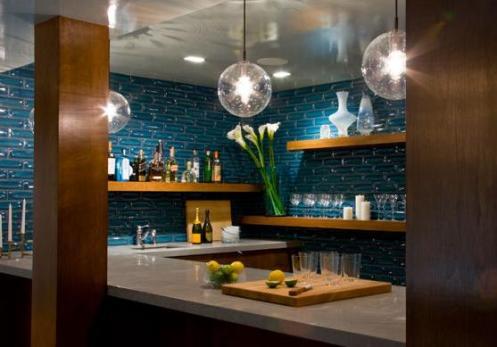 gorgeous modern blue brown kitchen