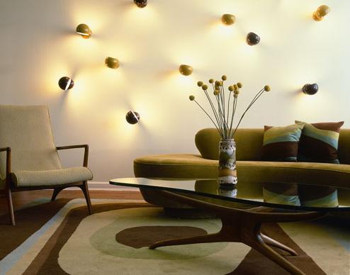 cream green brown retro living room