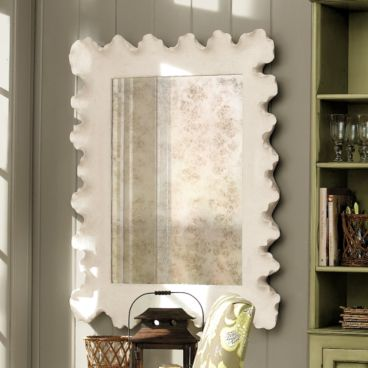 white beachy coastal mirror frame