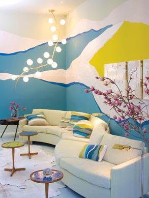 white blue yellow modern retro living room