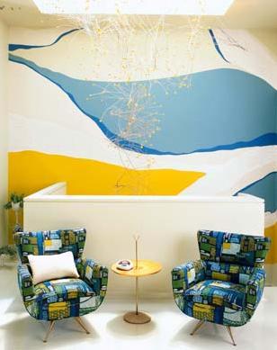 white blue yellow retro living room nook