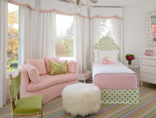 white pink green princess girls bedroom