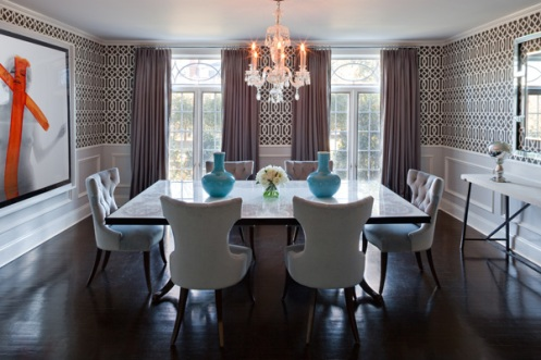 bold pattern wallpaper dining room