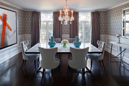 bold pattern wallpaper dining room