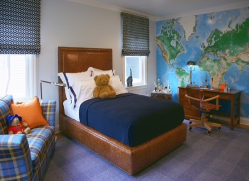 boys bedroom map wallpaper white and navy blue room