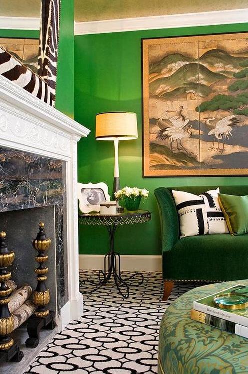 green white black modern living room