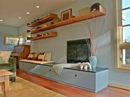 modern living room floating shelfs