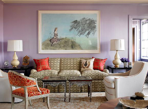 purple and coral red modern funky living room, colorful