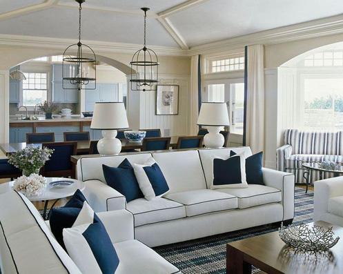 Cream white navy blue naturical style living room