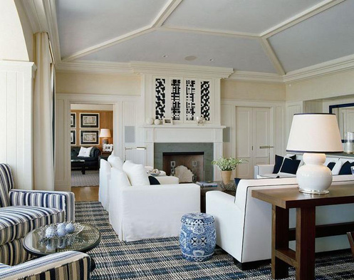 blue white nautica living room checkered carpets