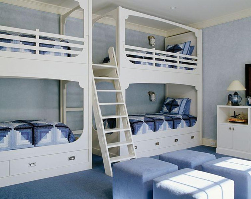 double bunkbeds blue and white nautical style kids room
