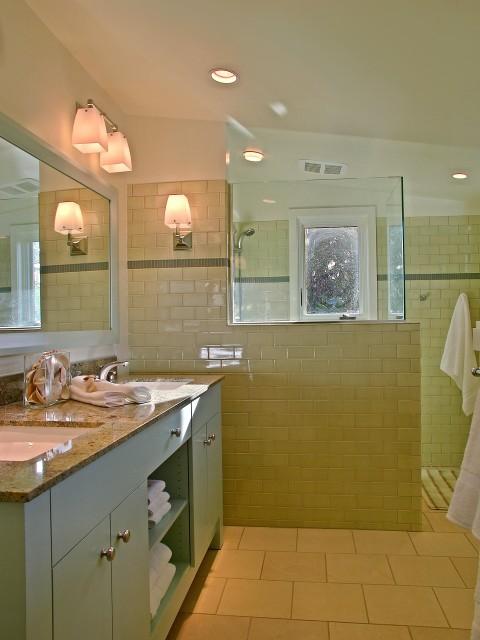 yellow and blue modern bathroom