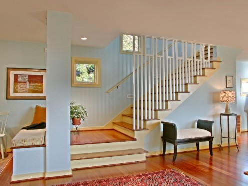 modern blue and yellow staircase