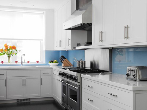 white and bluw kitchen modern