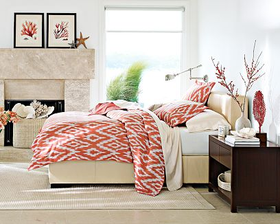 coastal beach style bedroom cream beige and coarl red