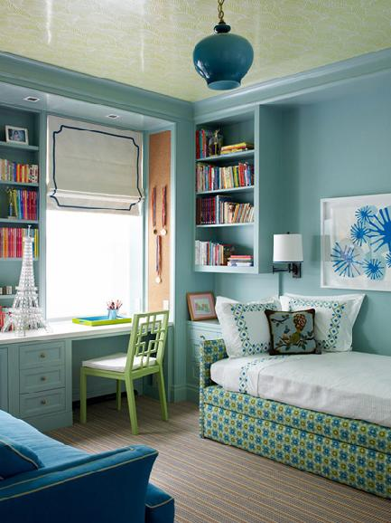 light blue and turquoise green kids room with ywllow pattern ceiling