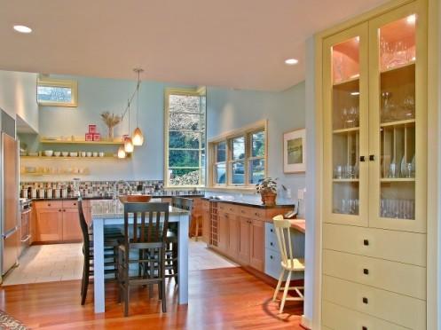light blue and yellow modern kitchen