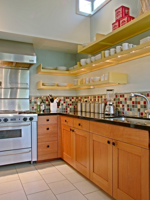 light blue and yellow kitchen with floating shelfs, modern