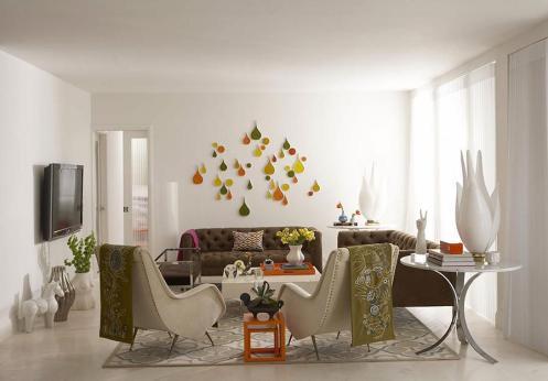 white brown green retro living room