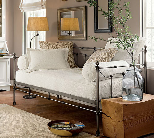 taupe and white daybed