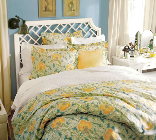blue green yellow coastal bedroom