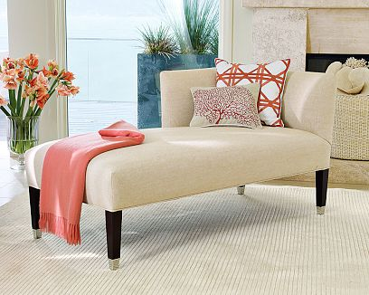 cream beige and coral red living room nook