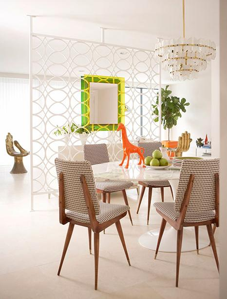 white and colorful retro dining room