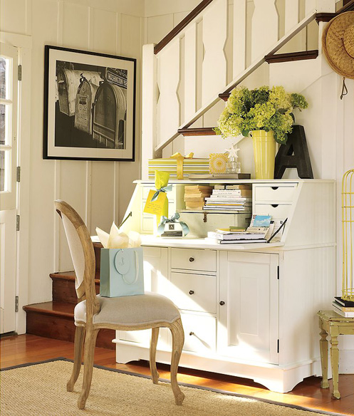 white yellow green home office