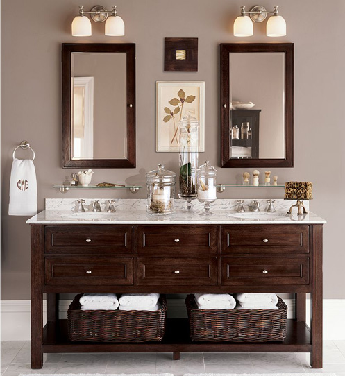 taupe white marble and dark wood bathroom