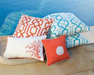 red and blue pillows cushions beachy coastal