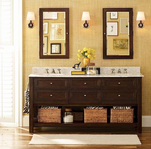 cozy bahtroom dark wood console